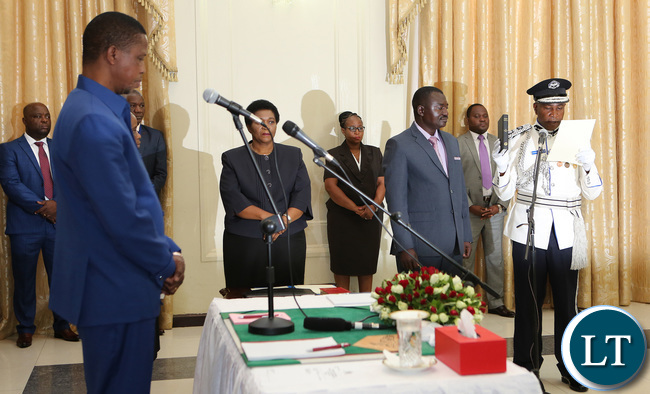 President Edgar Lungu Swearing in Mr Richard Mweene Commissioner of Police Northern Province
