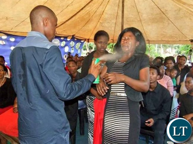 Prophet spraying doom on his congregants