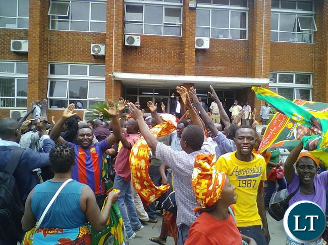 UPND members celebrate nullification of the Munali seat