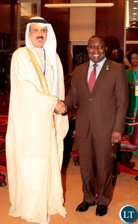 Foreign Affairs Minister,Harry Kalaba meets Education Minister of kingdom of Bahrain, Dr.Majed Alnoaimy during the summit of ministers in Equatorial Guinea