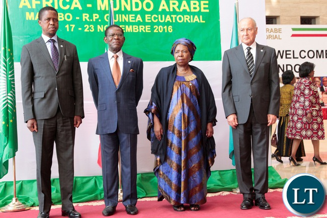 President Edgar Lungu is welcomed by his counterpart of Equatorial Guinea,Teodoro Obiag Masongo during the 4th Africa-Arab World Summit in Malabo today.