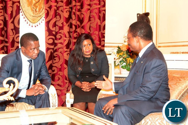 President Edgar Lungu confers with Prime minister Pascual Obama Asue ,Malabo International Airport for Africa-Arab Summit in Malabo today.