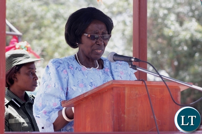Vice President Inonge Wina delivering her key note speech during the Official opening of Mukukutu Health Post in Nalolo District, Western Province