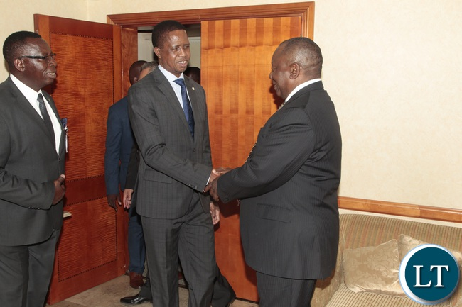 President Edgar Lungu welcomes South African Deputy President cyrill Ramaphosa when he called on him at Sheraton Hotel in Pretoria South Africa