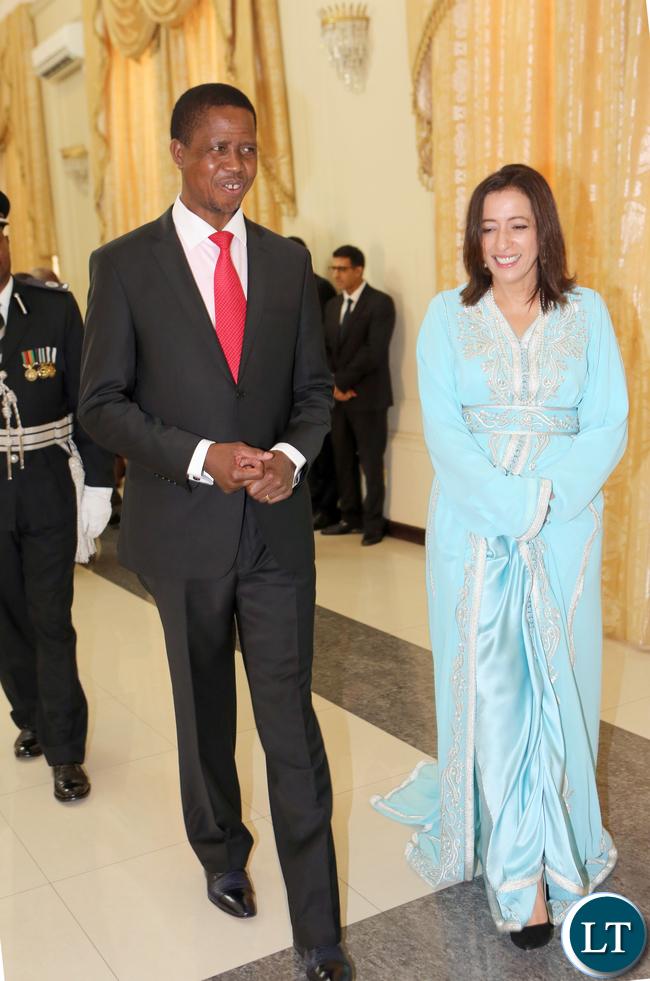 President Edgar Lungu with Ambassador of Kingdom of Morocco to Zambia Ms Saadiael Alaqoui