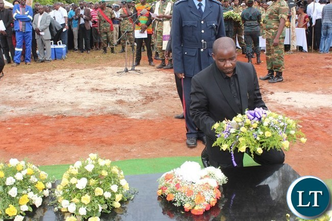 SECOND Deputy Speaker of the National Assembly, Mwimba Malama, lays a wreatgh at the grave of Mkhondo Lungu in Lundazi