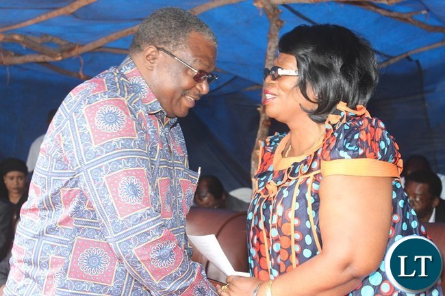 HIGHER Education Minister, Professor Nkandu Luo greets former Chasefu Member of Parliament, Chifumu Banda, at the funeral of the late former Deputy Speaker of the National Assembly, Mkhondo Lungu in Lundazi