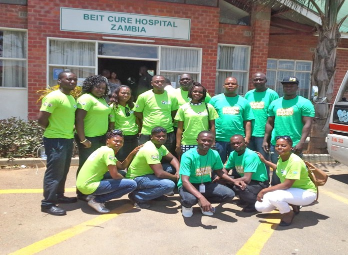 Zambian Breweries staff donate goods to Beit CURE Hospital in Lusaka.