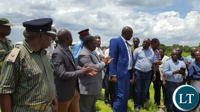 Copperbelt Miniter Bowman Lusambo when he went to address the miners
