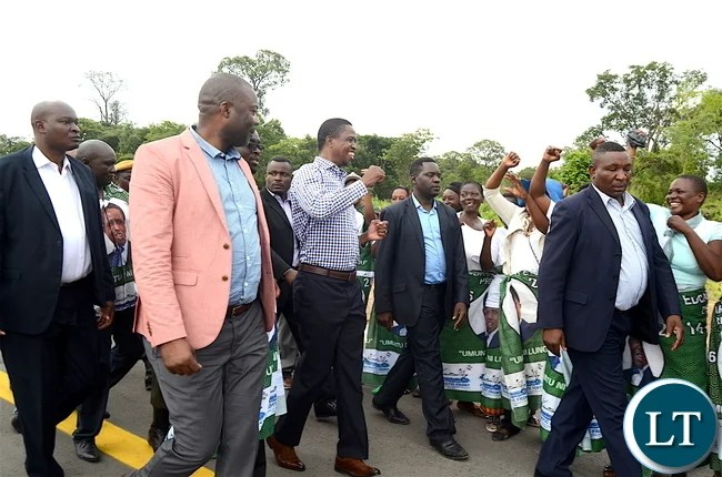 President Lungu  on arrival in Kitwe  on Thursday, January 5,2016 -Pictures by THOMAS NSAMA
