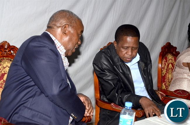 President Lungu with former president Rupiah Banda during the Zambian's  meet the Presidents dinner at Zambia's Ambassadors residence in Addis  Ababa, Ethiopia on Monday, January 29,2017 -Pictures by THOMAS NSAMA