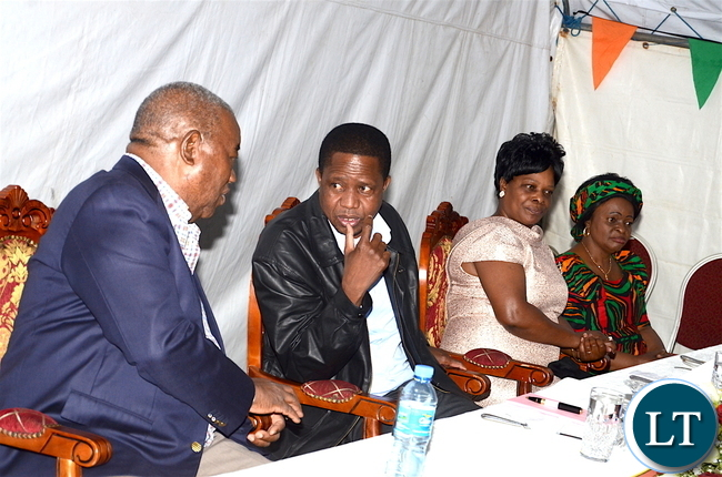 President Lungu with former president Rupiah Banda, First Lady Esther Lungu and Zambia's ambassador to Ethiopia Susan Sikaneta during the Zambian's  meet the Presidents dinner at Zambia's Ambassadors residence in Addis  Ababa, Ethiopia on Monday, January 29,2017 -Pictures by THOMAS NSAMA
