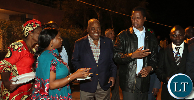 President Edgar Lungu with Former President Rupiah Banda at the Zambian mission Addis Ababa during the Zambian Night on Sunday