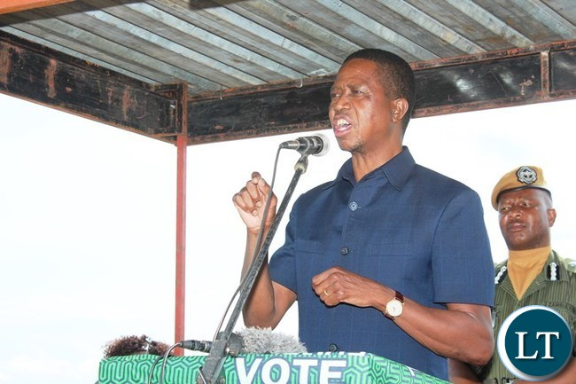 PRESIDENT Edgar Lungu, addresses a gathering that welcomed him at Lundazi airstrip on Saturday where he went to inspect fields affected by Army Worms. PICTURE BY STEPHEN MUKOBEKO/ZANIS