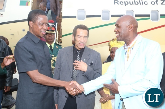 Botswana President Dr. Ian Khama introducing his Minister of transport Mr. Kitso Mokaila to President Edgar Lungu shortly after his arrival at Kasane Airport