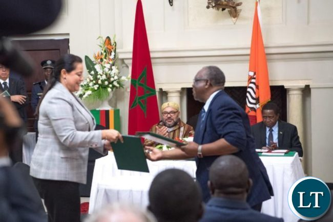 King Mohammed VI and President Lungu during the signing ceremony at State House