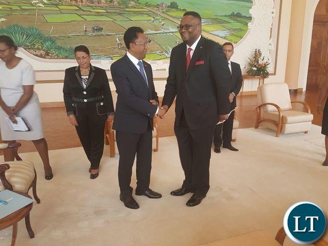 President Hery Rajaonarimampianina with Ambassador Emmanuel Mwamba