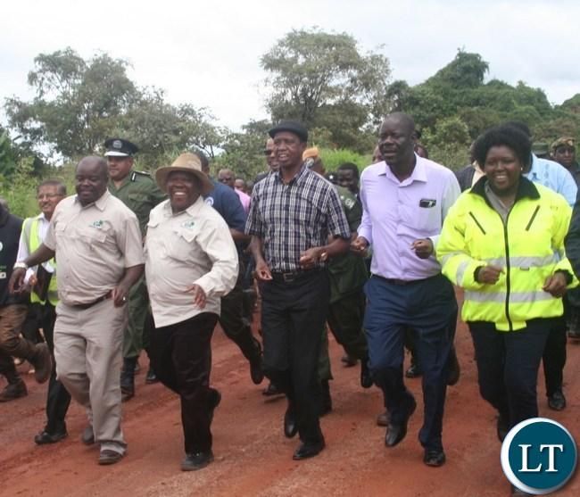 President Lungu accompanied by Chitotela Sikazwe Mwila and Saili logging on the Solwezi Chingola Highway