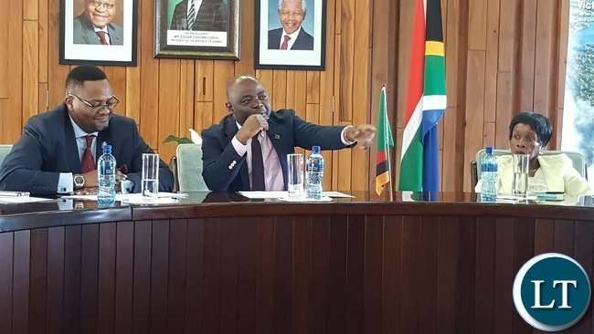 Home Affairs Minister, Mr. Stephen Kampyongo (Centre) speaking when he addressed diplomatic staff at the High Commission in Pretoria. With him are Zambia's High Commissioner to South Africa, His Excellency Mr. Emmanuel Mwamba and Deputy High Commissioner, Ms. Philomena Kachesa. This was on 2nd February, 2017