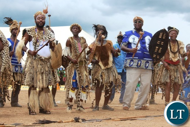 PARAMOUNT Chief Chief Mbelwa of the Ngoni people in Malawi (l) and former Malawian Vice President, Khumbo Kachali, join impis from that country in dancing the Ngoma dance. This was at this year's Ncwala ceremony held at Mtenguleni in Chipata on Saturday. PICTURE BY STEPHEN MUKOBEKO/ZANIS