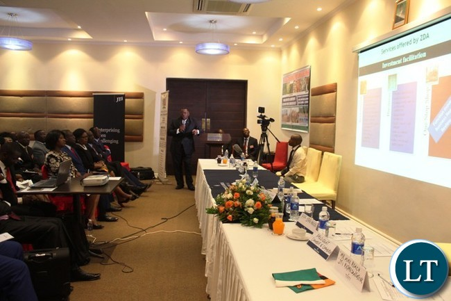 ZAMBIA Development Agency (ZDA) Director General, Patrick Chisanga, gives a presentation during the first Eastern Province Symposium on development held at Protea Hotel in Chipata