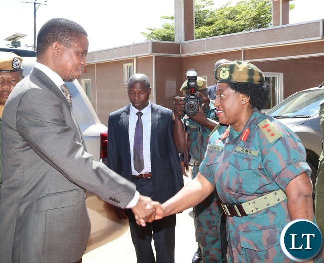 President Edgar Lungu is being welcomed by Zambia National Service (ZNS) Col. Nguluta shortly before inspecting the guard of honor mounted for him by the Zambia National Service (ZNS) during the Launch of the Construction of Zambia National Service (ZNS) Housing Units in Chamba Valley yesterday 30-03-2017 Picture by ROYD SIBAJENE/ZANIS