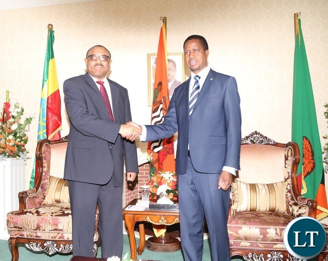 President Edgar Lungu welcomes His Ethiopian Counterpart Prime Minister Hailemariam Dessalagn arrives at State House