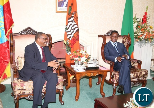President Edgar Lungu having a light moment with His Ethiopian Counterpart Prime Minister Hailemariam Dessalagn arrives at State House