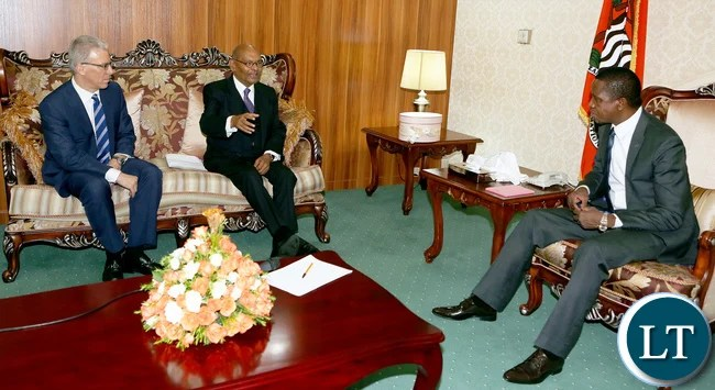 President Edgar Lungu (right) listens to Vedanta Resources PLC Chairman Anil Agarwal (left) who paid a courtesy call on him at State House on Friday.