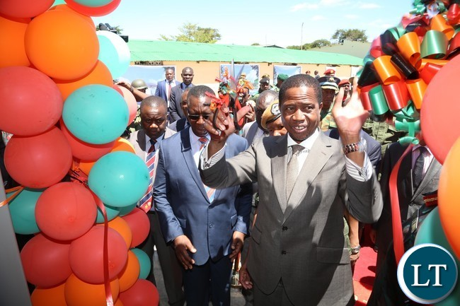 President Edgar Lungu cutting the ribbon to officially launch the Construction of Zambia National Service (ZNS) Housing Units in Chamba Valley yesterday 30-03-2017 Picture by ROYD SIBAJENE/ZANIS