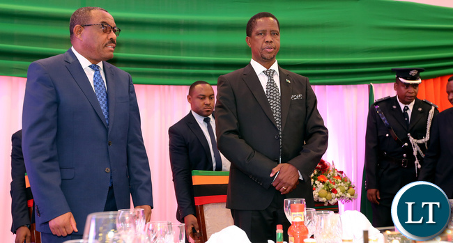 President Edgar Lungu (right) with Ethiopian Prime Minister Hailemariam Dessalegn (left) at the State Banquet held on Wednesday at Pamodzi Hotel in honour of the Prime Minister who is in the country on a State Visit.