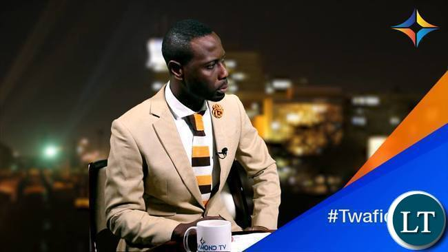 Costa Mwansa on the set of a new TV show called Night Live on Diamond TV
