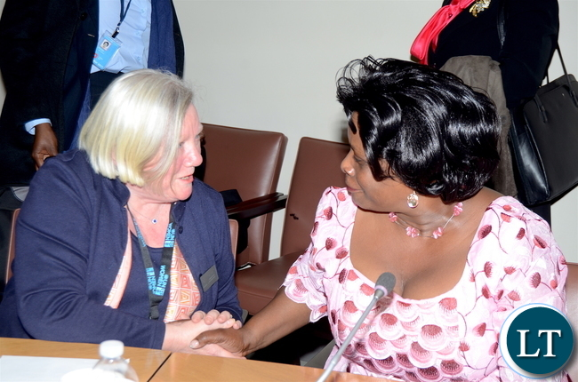 First Lady Esther Lungu speaks with ZONTA International UN Committee Chairman Leslie Wright  during the International event on Economic Security: Violence  against Women and the Workplace . This was on the sidelines of the 61st Session of the UN Commission on the Status of Women at UN Headquarters in New York on Wednesday, March 15,2017 - Picture by THOMAS NSAMA