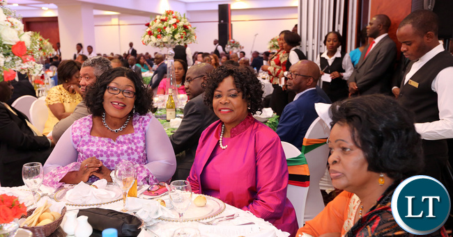 Former First ladies Vera Tembo and Maureen Mwanawasa (From left-right) and Zambia's Ambassador to Ethiopia Susan Sikaneta at the State Banquet held in honour of Ethiopia's Prime Minister Hailemariam Dessalegn on Wednesday at Pamodzi Hotel.