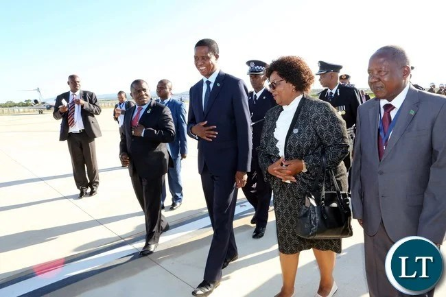 President Edgar Lungu being Welcomed by Senator Winnie Magaqula minister of Labour and Social Security in Swaziland