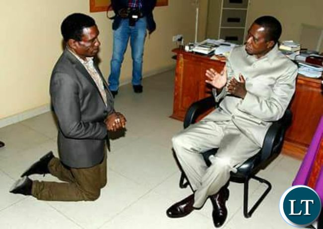 President Lungu talks to Hon. Michael Katambo