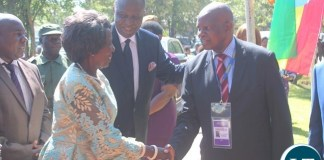 VICE President Inonge Wina (l) shakes hands with Zimbabwean Finance and Economic Development Patrick Chinamasa while Finance Minister Felix Mutati (c) looks on. This was shortly before the official opening of the Batoka Gorge Hydroelectric Power, Investors Conference at David Livingstone Safari Lodge in Livingstone