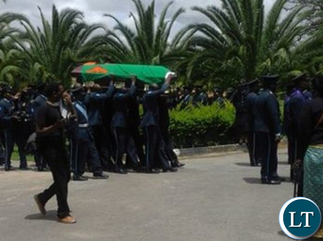 ZAF officers carrying the casket of their deceased colleague Flight Sergeant Nchimunya Choongwa
