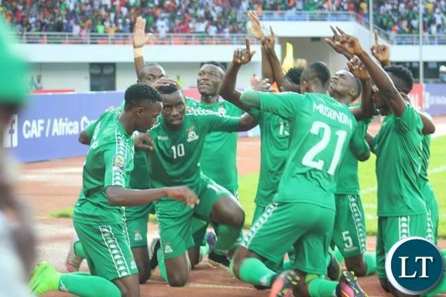 Zambian Players celebrating after scoring