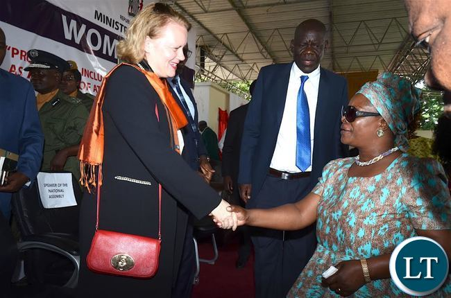 First Lady Esther Lungu bids farewell to UN resident Coordinator Janet Rogan after the International Women's Day Commemoration at Lusaka Show grounds on Wednesday, March 8,2017 -Picture by THOMAS NSAMA/STATE HOUSE