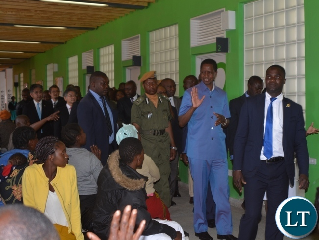 President Edgar Lungu during the tour of the Matero First Level Hospital in Matero