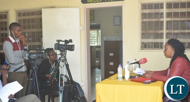 Civil Society Constitution Agenda Vice Chairperson Pamela Chisanga(r) speaking during a Media Briefing on People Driven, popularised Constitutionalism in Zambia at the Zambia Civic Education Association in Lusaka
