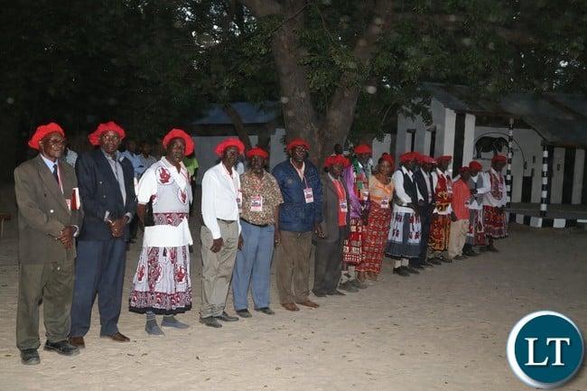 Indunas awaits the arrival of President Edgar Lungu at Lailui Palace in Mongu to pay courtesy call on the Litunga Imwiko ii