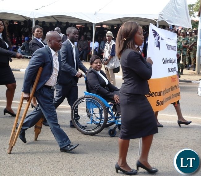 Zambia Agency for Disability join in celebrating 2017 Labour Day Celebration at Freedom Statue yesterday 01-05-2017. Picture by ROYD SIBAJENE/ZANIS