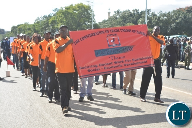 Confederation of Trade Union of Zambia Staffs matching during the Labour Day Celebration in Lusaka yesterday,01052017.Picture by Ennie Kishiki/Zanis.