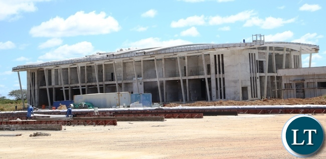 Presidential Pavilion at Kenneth Kaunda International Airport under construction has reached advanced stage at 50% and the construction is done by China Jianx