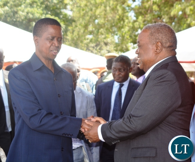 President Edgar Lungu(l) chats with Fourth Republican President Rupiya Banda(r) during the Labour Day Celebration in Lusaka yesterday,01052017.Picture by Ennie Kishiki/Zanis.