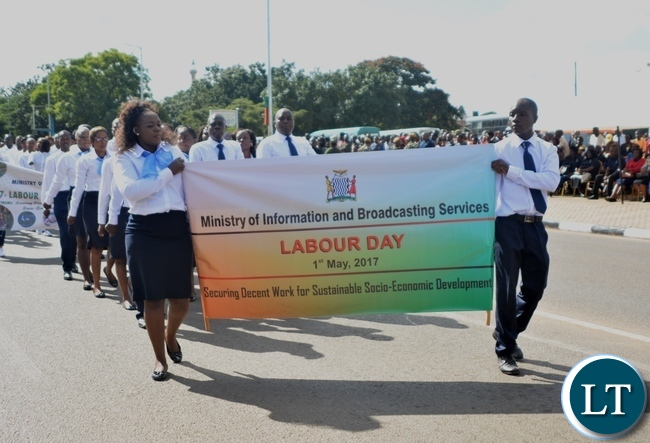 Ministry of Information and Broadcasting Services matches matching during the Labour Day Celebration in Lusaka yesterday,01052017.Picture by Ennie Kishiki/Zanis.