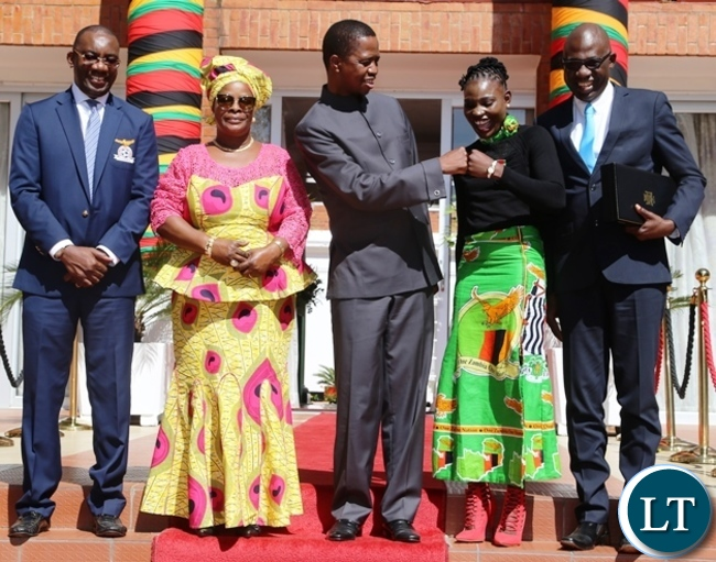 President Edgar Lungu with first lady Esther Lungu pose for the group picture with the recipients of awards during this year's Africa Freedom day at State House. Picture by SUNDAY BWALYA/ZANIS.