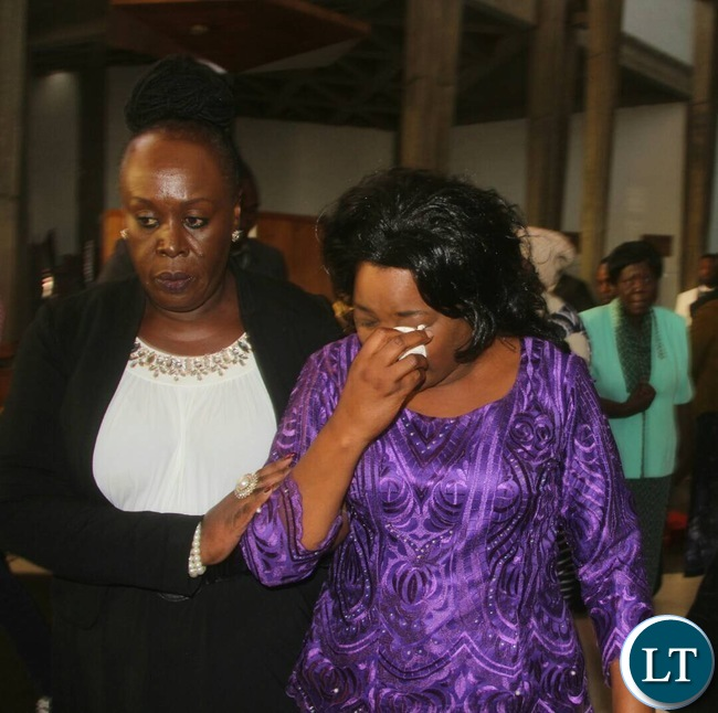 Mrs Hichilema's wife, Mutinta shed tears during the prayers for peace and unity.